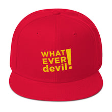 "Load image into Gallery viewer, ""Whatever devil!"" Gold Letter Snapback"