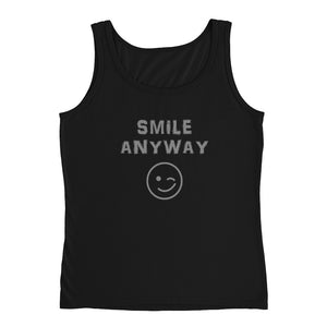 """Smile Anyway"" Tank Gray Letter"