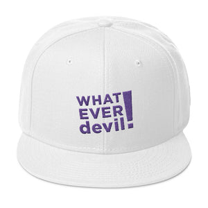 """Whatever devil!"" Purple Letter Snapback"