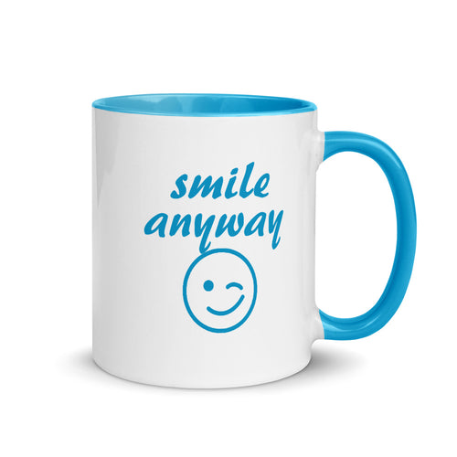 Smile Anyway Blue Mug
