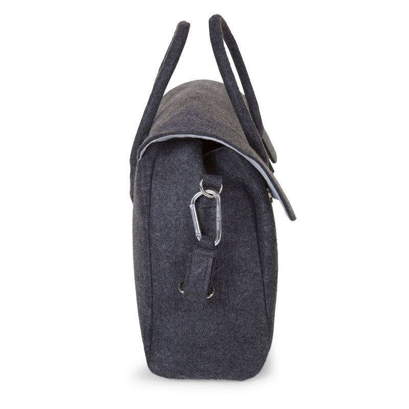 FELT NURSERY BAG DARK GREY + STROLLER HOOKS