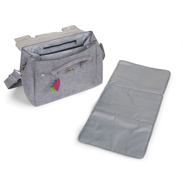 FELT NURSERY BAG GREY + STROLLER HOOKS