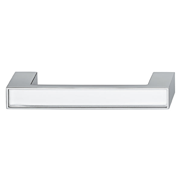 Chrome polished furniture handle with white glass inset
