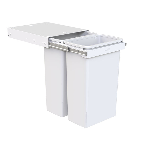 Hideaway Waste Bin Compact Soft-Close 2x40 Ltr, Handle Pull, two white pails