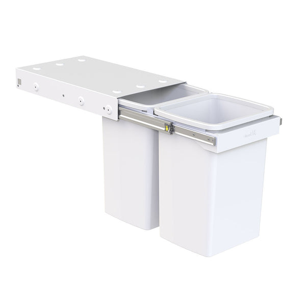 Rubbish bin by Hideaway with two pails with 20 litre capacity each, top mounted into cupboard, handle pull,