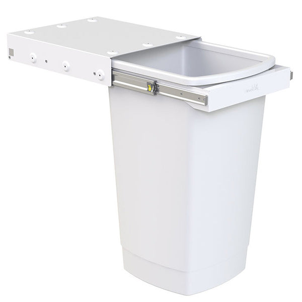 Picture of Hideaway Waste Bin Compact Soft-Close, white bin, 50 litre capacity, handle pull