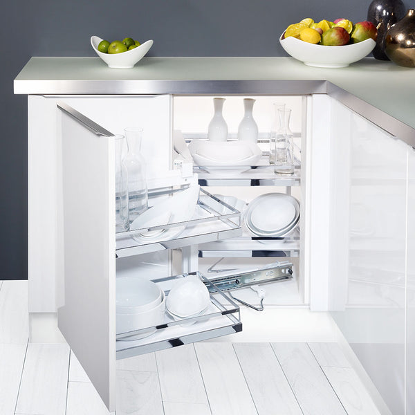 Magic Corner - Kitchen Corner Storage Solution with two trays