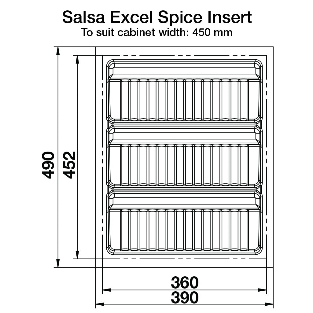 Specs for Salsa Excel Spice Drawer Insert to suit cabinet width of 450 mm