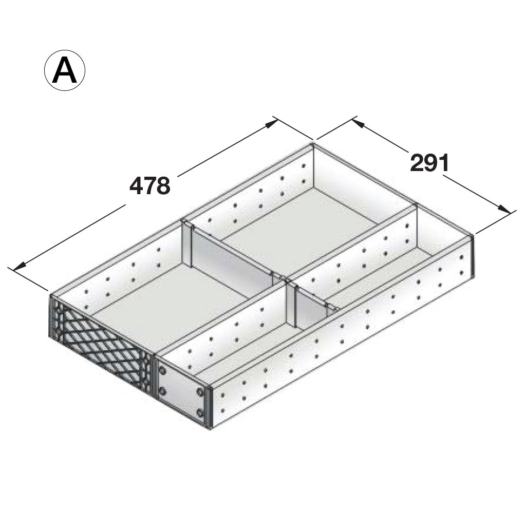 Stainless Steel Drawer Organiser Configuration A