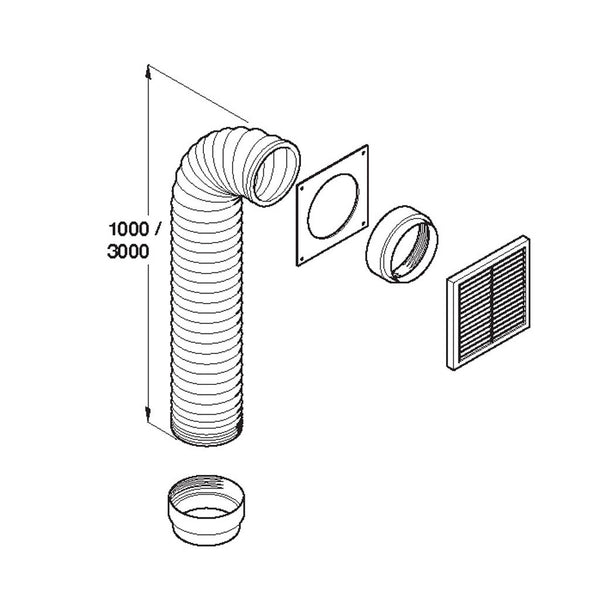 3MTR WHITE DUCTING KIT WITH EXTERNAL GRILL