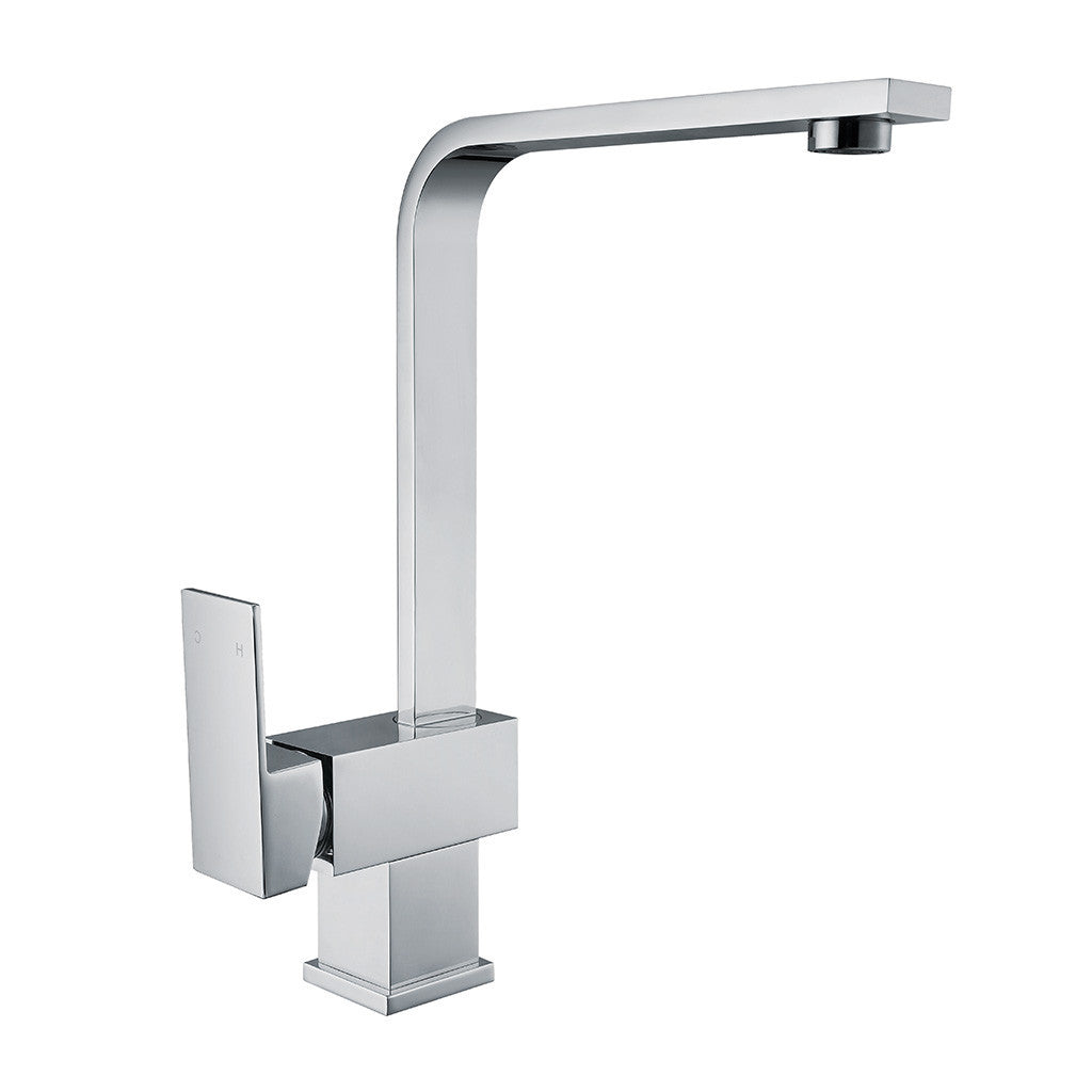 Kitchen mixer tap flat in polished chrome