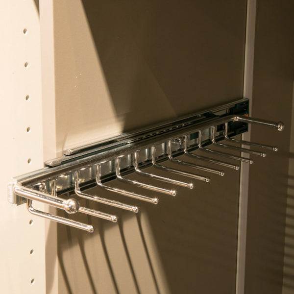 Wardrobe Storage installed Starax Pull-Out Tie Rail Rack