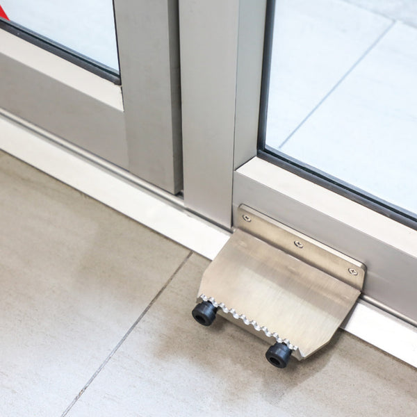 Installed Stainless Steel Foot Plate for Hands-Free door opening to pull or push doors to open