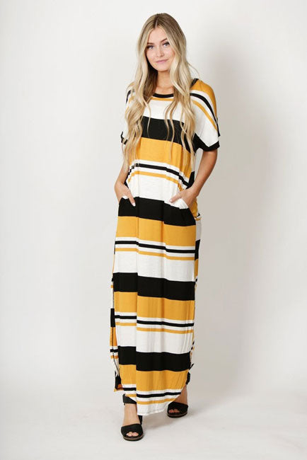 striped maxi dress with bright colors