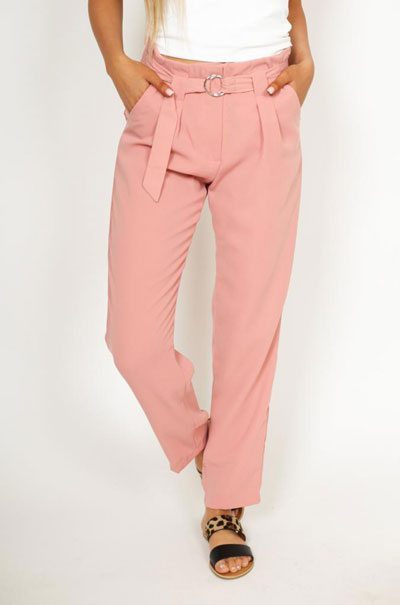 a pair of tailored pink pants
