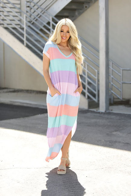 pastel maxi dress with pockets