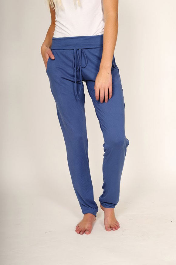 a pair of blue lounge pants