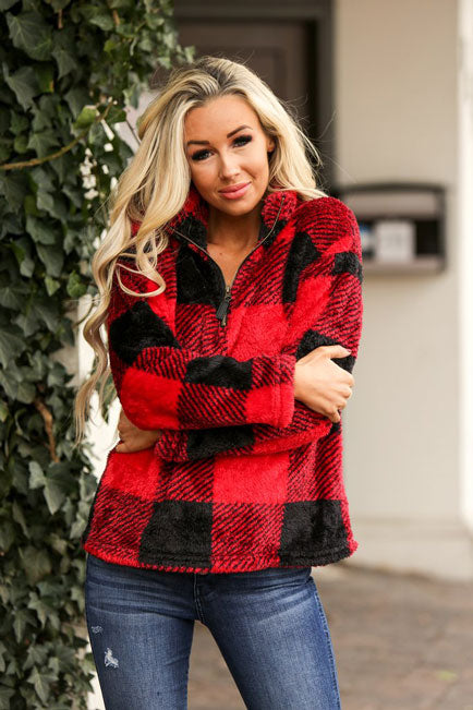 red checkered Sherpa coat