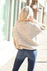 Bubble Sleeve Confetti Sweater