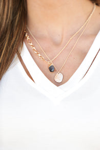 Stone and Pendant Layered Necklace