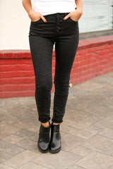 High Rise Leopard Print Skinny Jeans