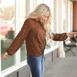 Mock Neck Bubble Sleeve Top