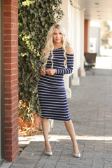 Striped Cold Shoulder Midi Dress