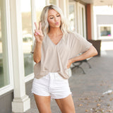 V Neck Crossover Blouse