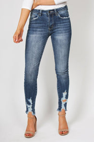 Rough Hem High Rise Jeans
