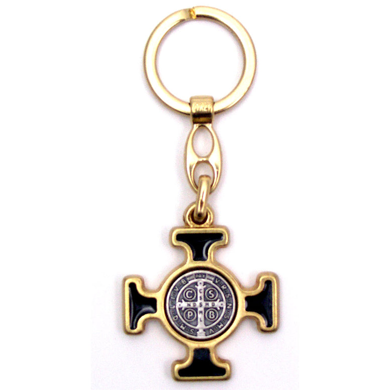 St. Benedict Keychain Gold Cross