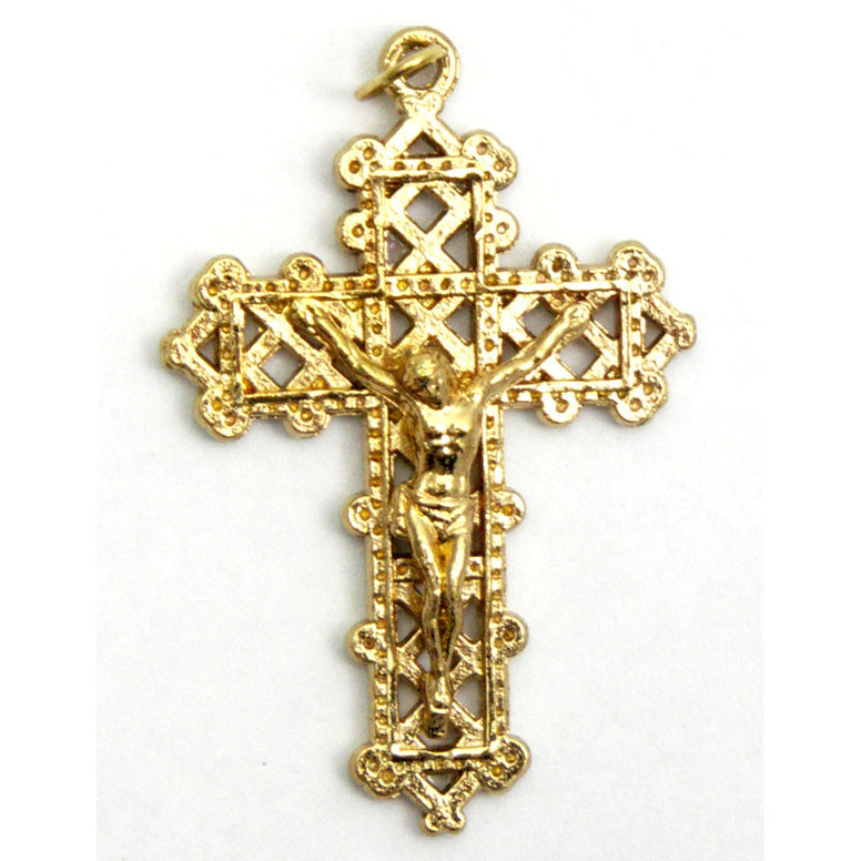 "1½"" Gold Filigree Crucifix"