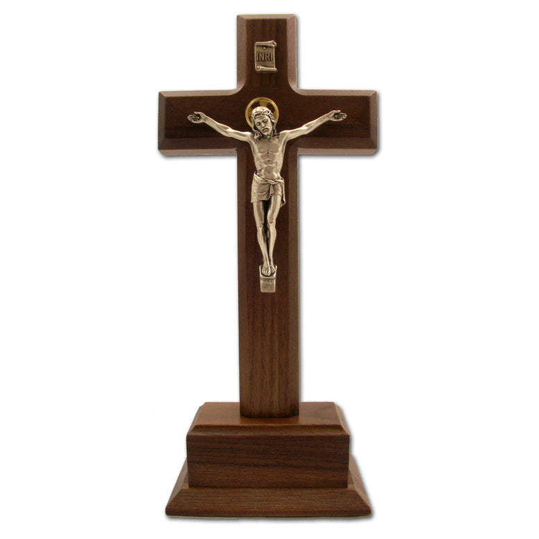 "10"" Walnut Standing Crucifix with Salerni Silver Corpus"