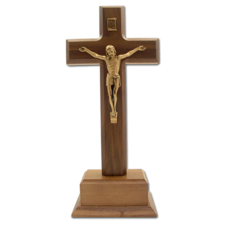 "10"" Walnut Standing Crucifix with Gold Corpus"