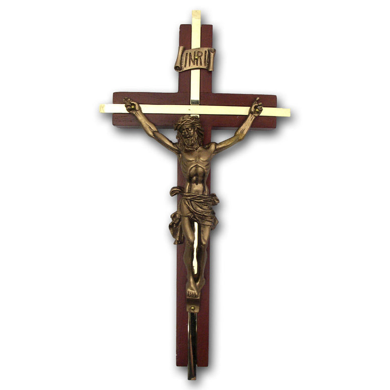 Walnut Cross with Bronze Inlay: 8""