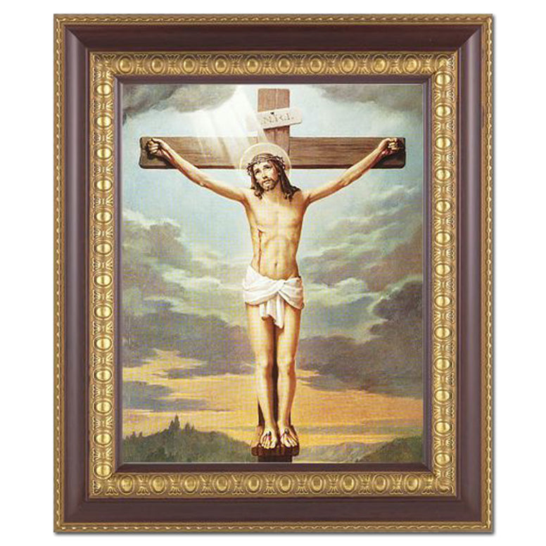 "Crucifixion: 11"" x 13"" Cherry Frame"
