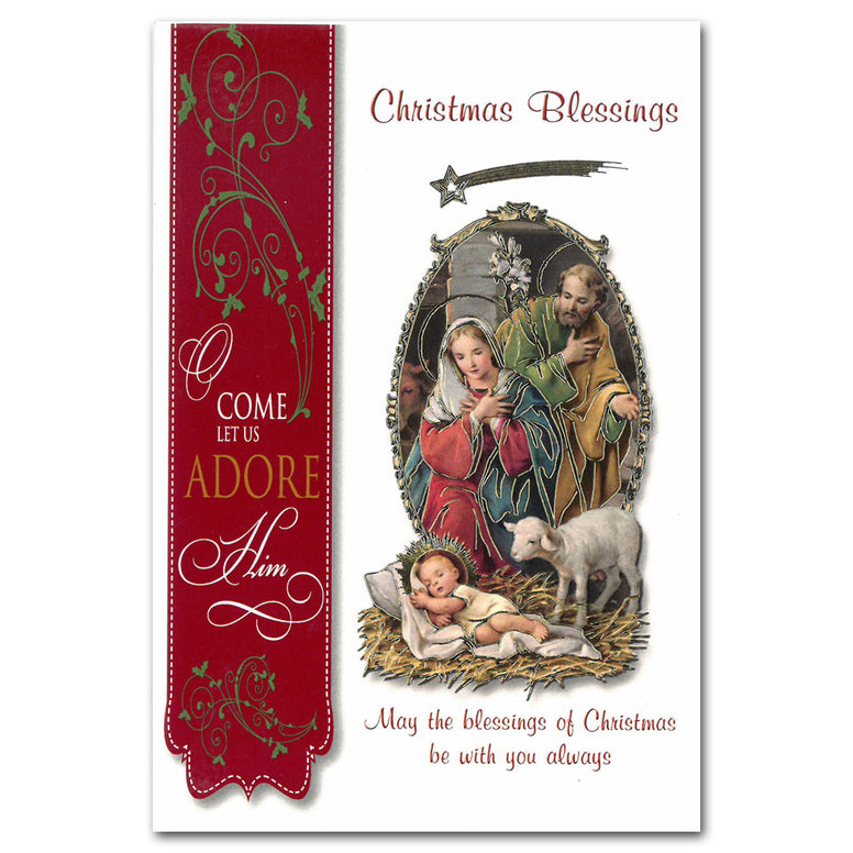 Nativity with Lamb - Single Card