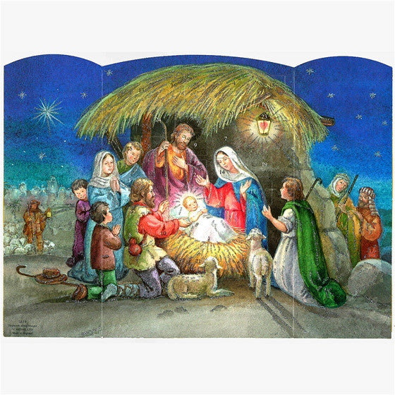 Shepherds at Manger Advent Calendar