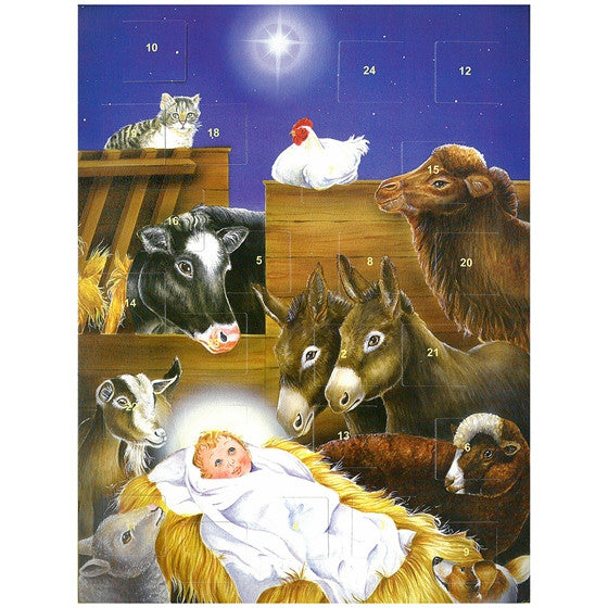 jesus in manger advent calendar mary immaculate queen center