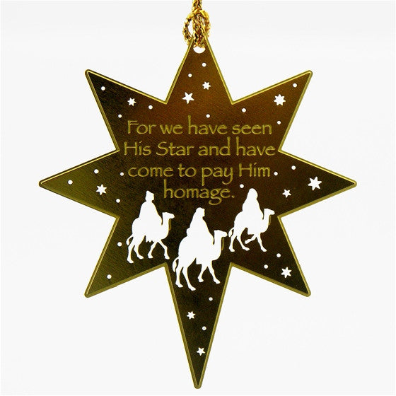We Have Seen His Star Brass Ornament