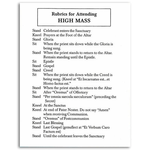 Rubrics for Traditional Mass