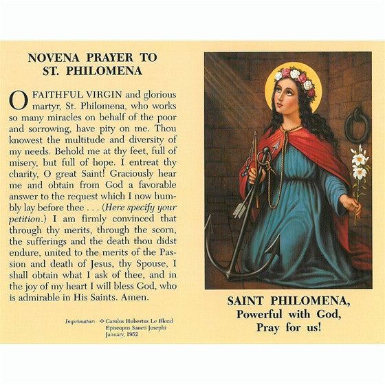 St. Philomena Novena Prayer Card