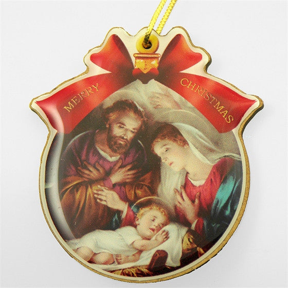 Jesus, Mary, Joseph Round Ornament