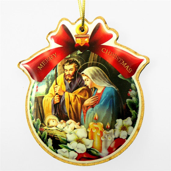 Jesus, Mary, Joseph; Candles/Flowers Ornament