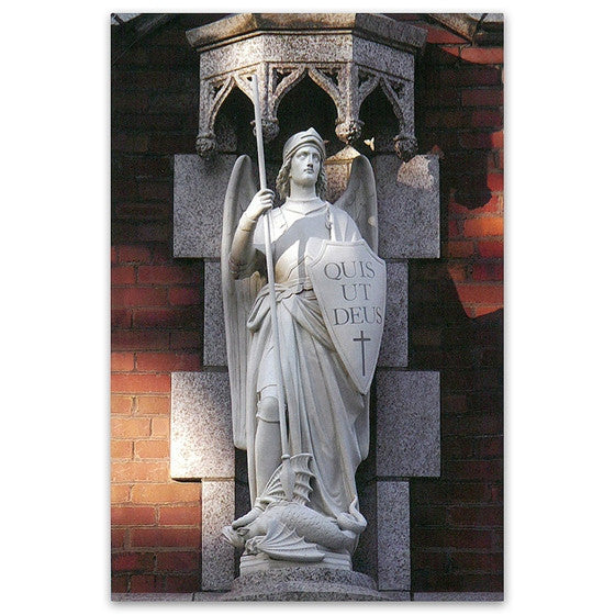 Mt. St. Michael: St. Michael Statue Over Main Entrance - Postcard