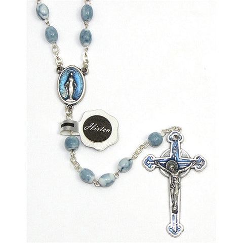 Light Blue Oval Bead Rosary