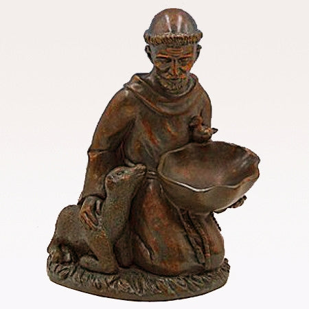 St. Francis Kneeling with Bird Feeder 16""