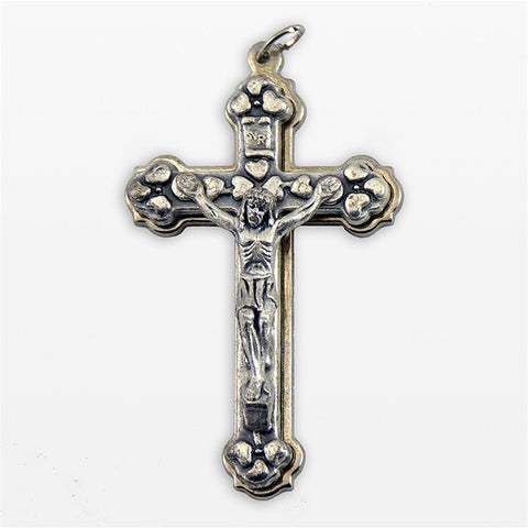 Small Metal Stepped Up Silver Oxidized Crucifix