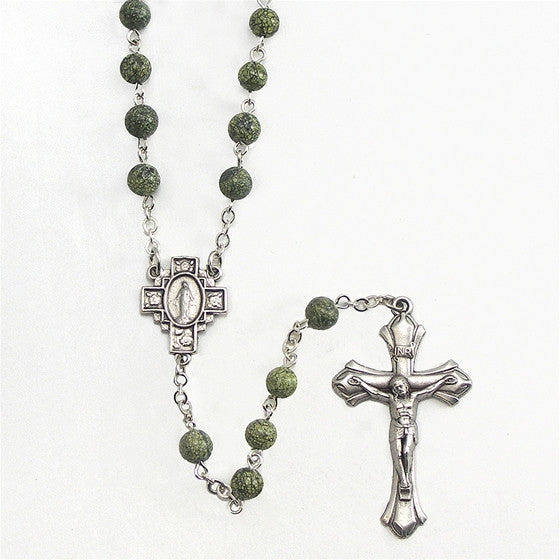 Green Side Stone 6mm Bead Rosary - 20""