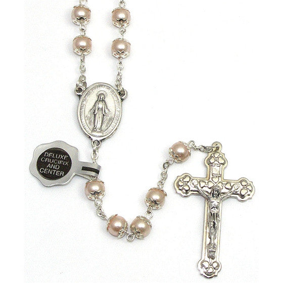 Pink Pearl Bead Rosary