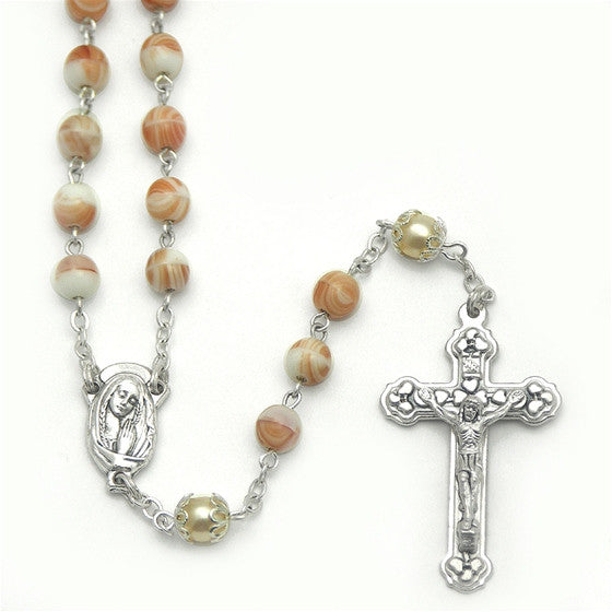 Coral Swirl Rosary